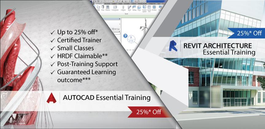 25% off AutoCAD Training & Revit Essential (Arch) Training